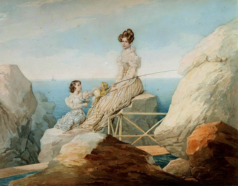 SOKOLOV Peter - Portrait of Empress Alexandra and Grand Duchess Maria Nikolaevna on the shore. 900 Classic russian paintings