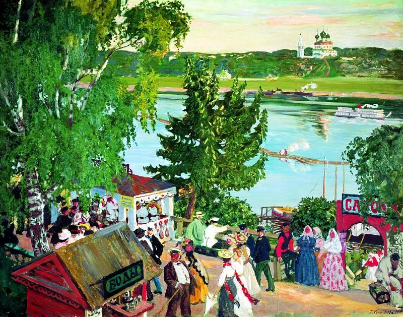 Kustodiyev Boris - festivities on the Volga. 900 Classic russian paintings
