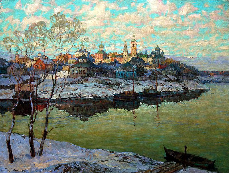 Gorbatov Constantine - Early Spring. City River. 900 Classic russian paintings