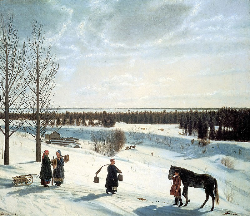 KRYLOV Nicephorus - Winter landscape. Russian winter. 900 Classic russian paintings