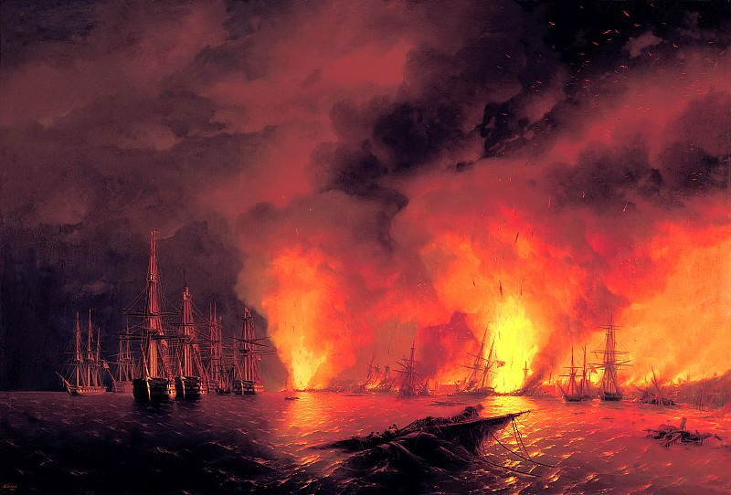 Ivan Aivazovsky - Sinop fight on Nov. 18, 1853 (the night after the battle). 900 Classic russian paintings