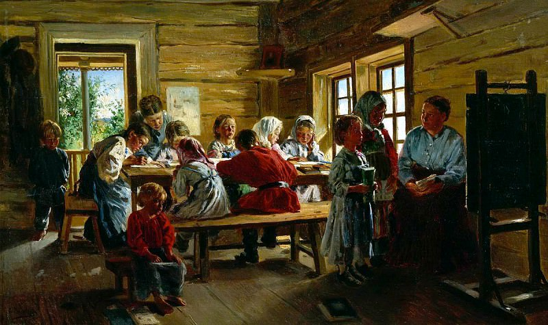 Makovsky Vladimir - The rural school. 900 Classic russian paintings