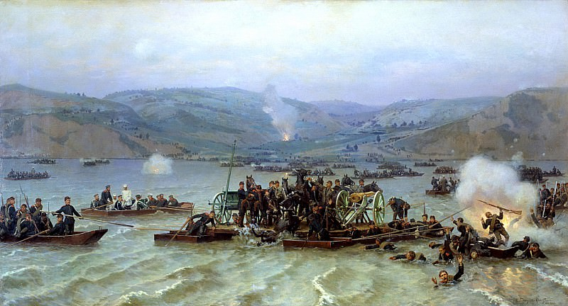 Nikolai Dmitriev-Orenburgsky - Crossing the Russian army over the Danube at Zimnitsa June 15, 1877. 900 Classic russian paintings