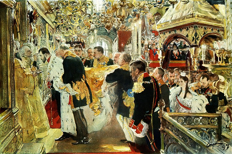 Valentin Serov - Confirmation of Emperor Nicholas Alexandrovich. 900 Classic russian paintings