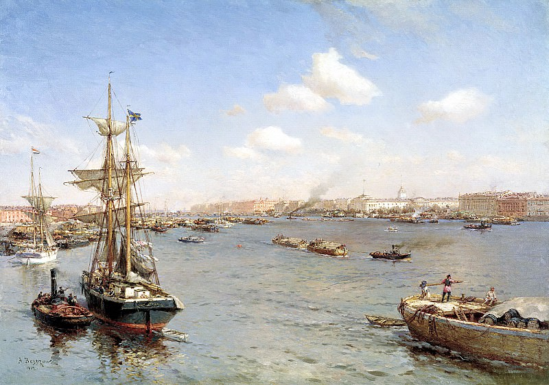 Beggrov Alexander - St. Petersburg. View of the Neva. 900 Classic russian paintings
