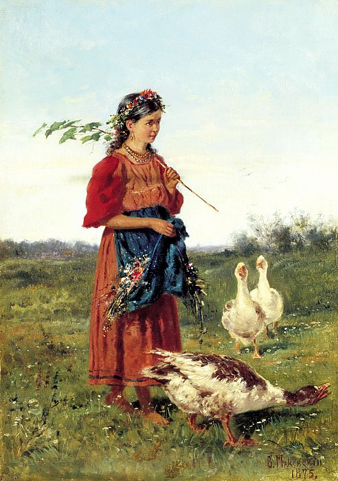 Makovsky Vladimir - Girl with geese. 900 Classic russian paintings