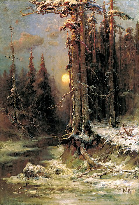 Klever Julius - Sunset in winter. 1. 900 Classic russian paintings