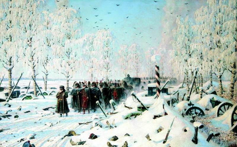 Vereshchagin Vasily (Vasilyevich) - On the high road. Retreat and escape. 900 Classic russian paintings