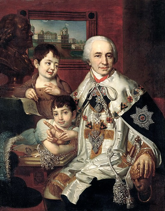 Borovikovsky Vladimir - Portrait of Count Grigory Grigorievich Kusheleva with children. 900 Classic russian paintings