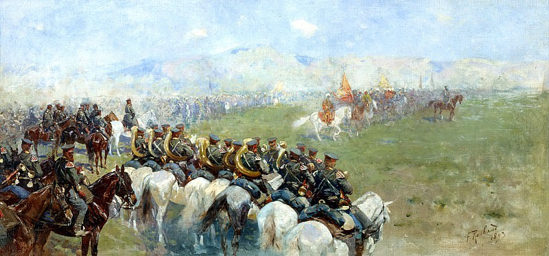 Franz Roubaud - Review of troops by Alexander III. 900 Classic russian paintings