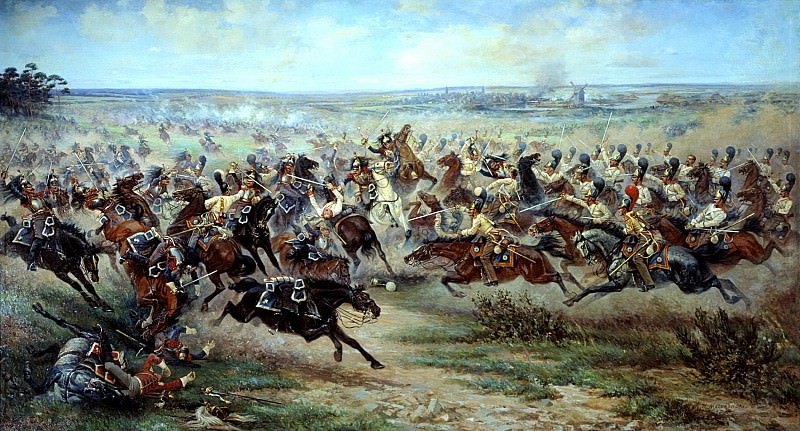 Mazurovskii Victor - Attack of the Life Guards regiment at the French cuirassier in the battle of Friedland June 2, 1807. 900 Classic russian paintings
