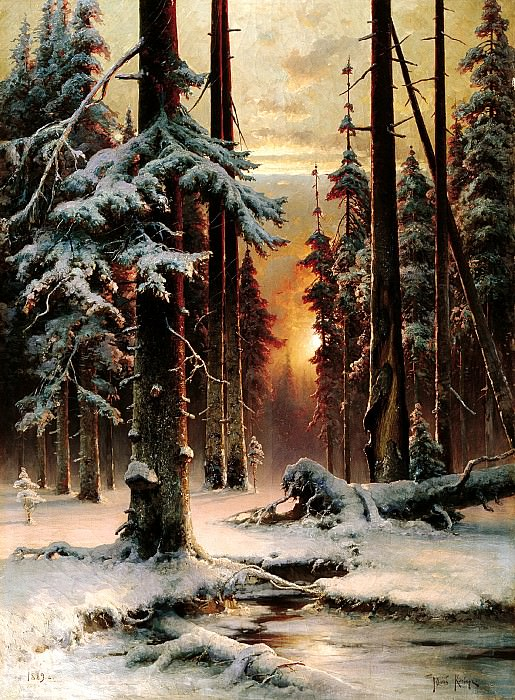 Klever Julius - Winter sunset in the fir forest. 900 Classic russian paintings
