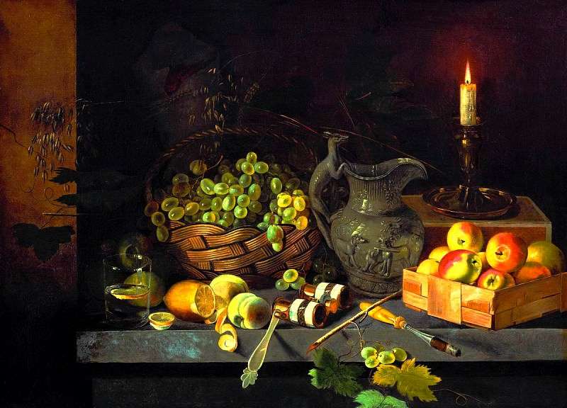 Khrutsky Ivan - Still Life with Candle. 900 Classic russian paintings