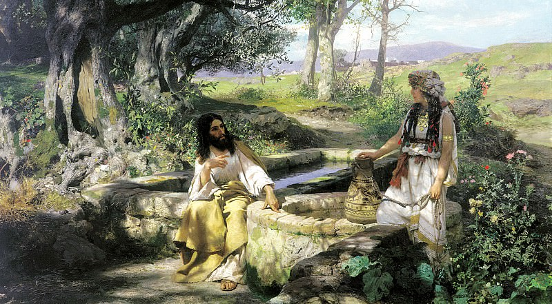 Semiradsky Henry - Christ and the Samaritan woman. 900 Classic russian paintings