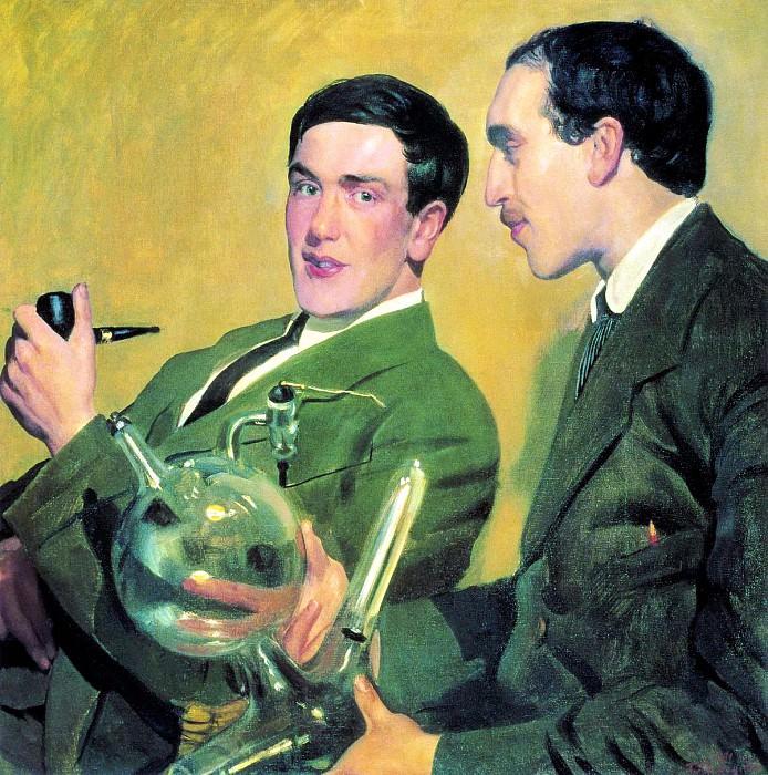 Kustodiyev Boris - Portrait Kapitsa and Semenov. 900 Classic russian paintings