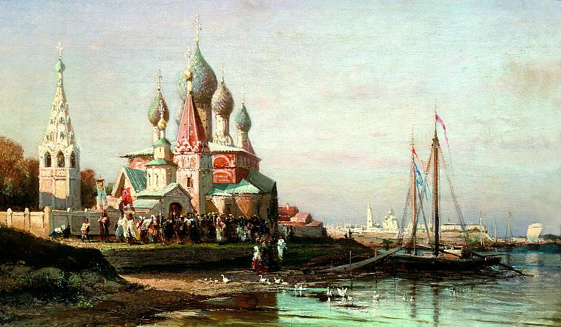 Bogolyubov Alexey - Procession in Yaroslavl. 900 Classic russian paintings