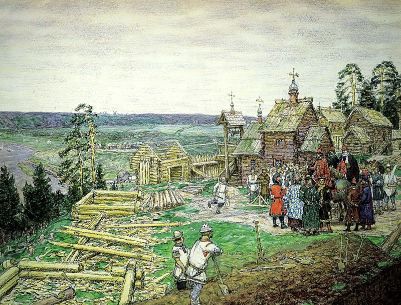 Vasnetsov Apollinary - Founding of Moscow. 900 Classic russian paintings