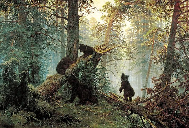ШИШКИН Иван - Утро в сосновом лесу. 900 Картин самых известных русских художников