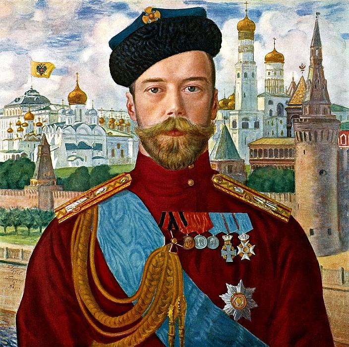 Kustodiyev Boris - Emperor Nicholas II. 900 Classic russian paintings