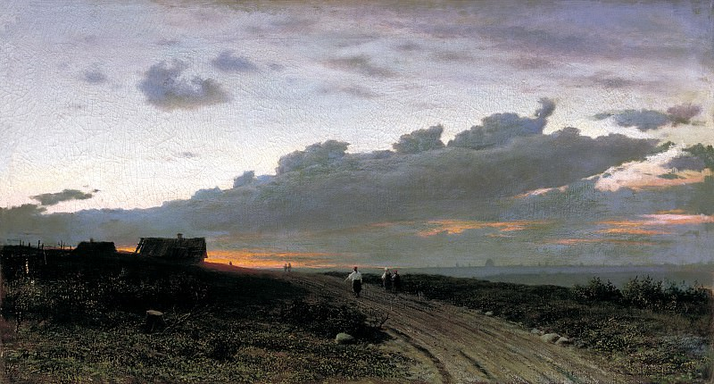 Klodt Mikhail (K.) - An evening view of the countryside. Orel province. 900 Classic russian paintings