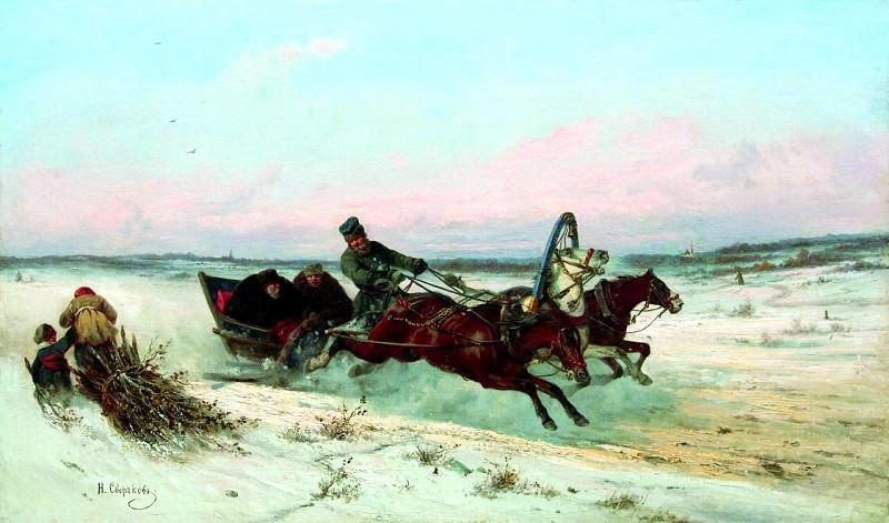 СВЕРЧКОВ Николай - Тройка зимой. 900 Картин самых известных русских художников