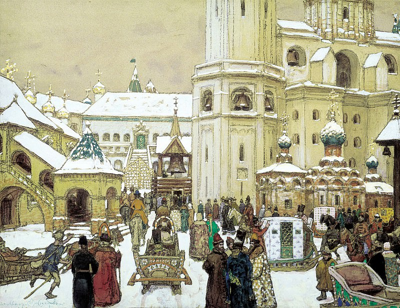 Vasnetsov Apollinaris - Area of Ivan the Great in the Kremlin. XVII century. 900 Classic russian paintings