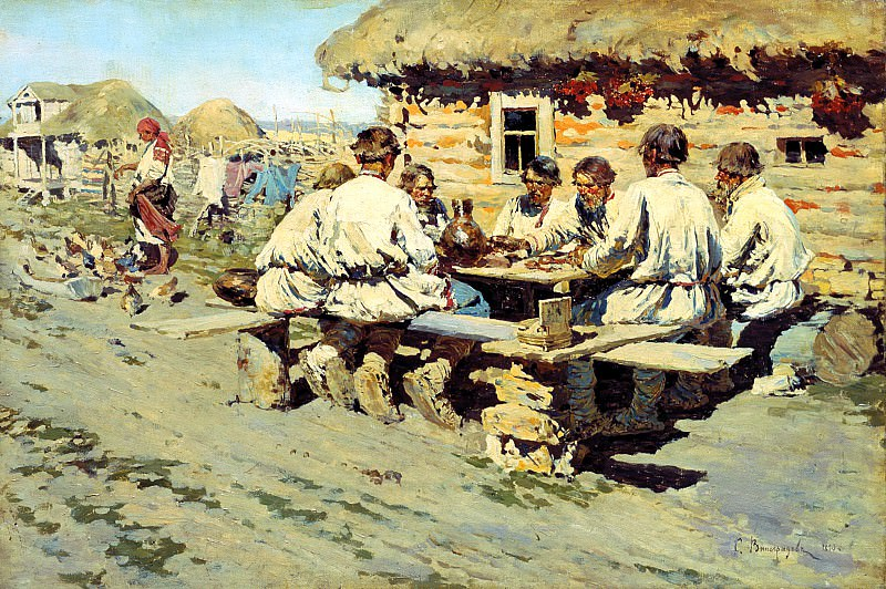 Sergei Vinogradov - Lunch Workers. 900 Classic russian paintings
