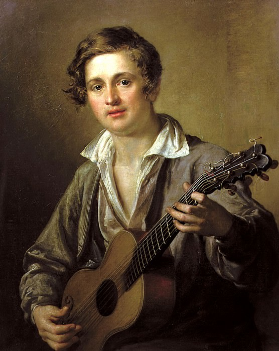Tropinin Basil - Guitarist. 1823. 900 Classic russian paintings