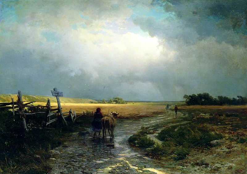 Fyodor Vasiliev - After the rain. Country road. 900 Classic russian paintings