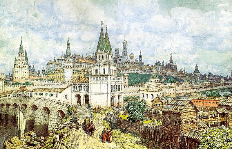 Vasnetsov Apollinary - Rise of the Kremlin. Saints Bridge and the Kremlin at the end of XVII century. 900 Classic russian paintings
