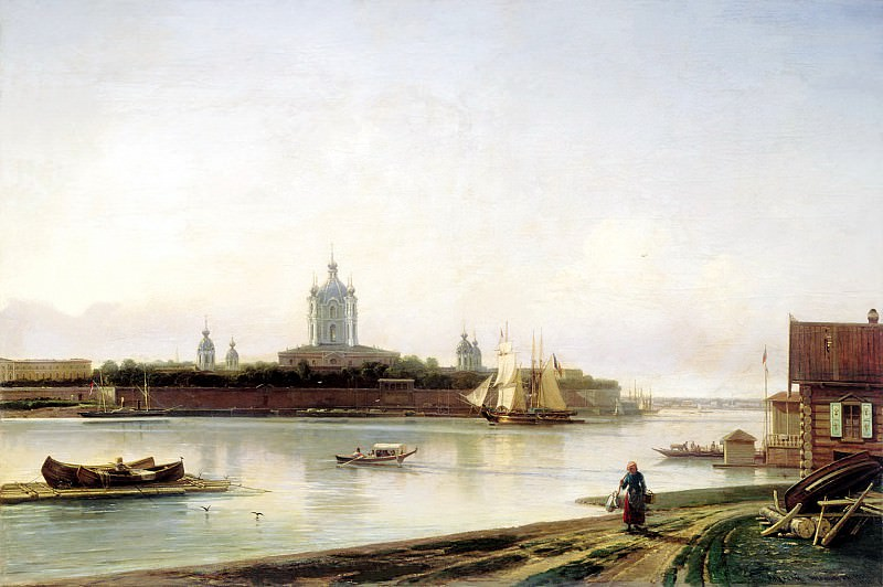 Bogolyubov Alexey - Kind of Smolny Convent from the Great Ohta. 900 Classic russian paintings