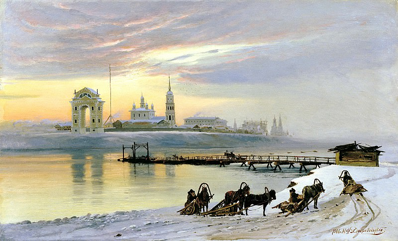 Dobrovolsky, Nikolai - The ferry across the Angara in Irkutsk. 900 Classic russian paintings