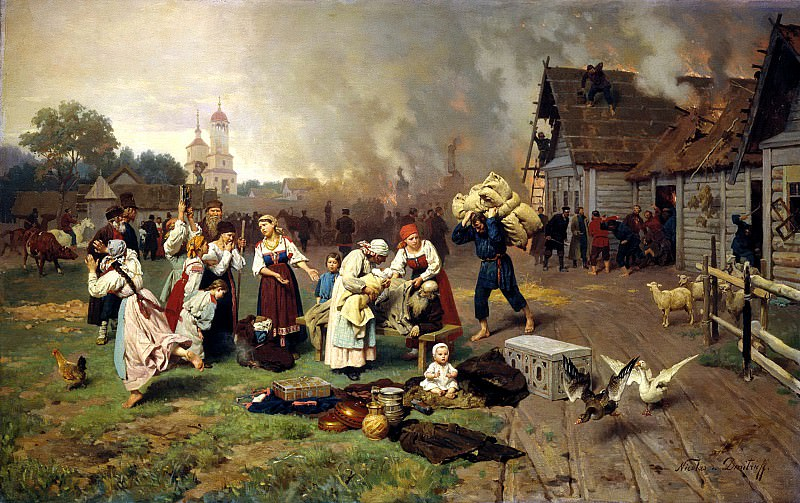 Dmitry-Orenburgsky Nick - Fire in the village. 900 Classic russian paintings