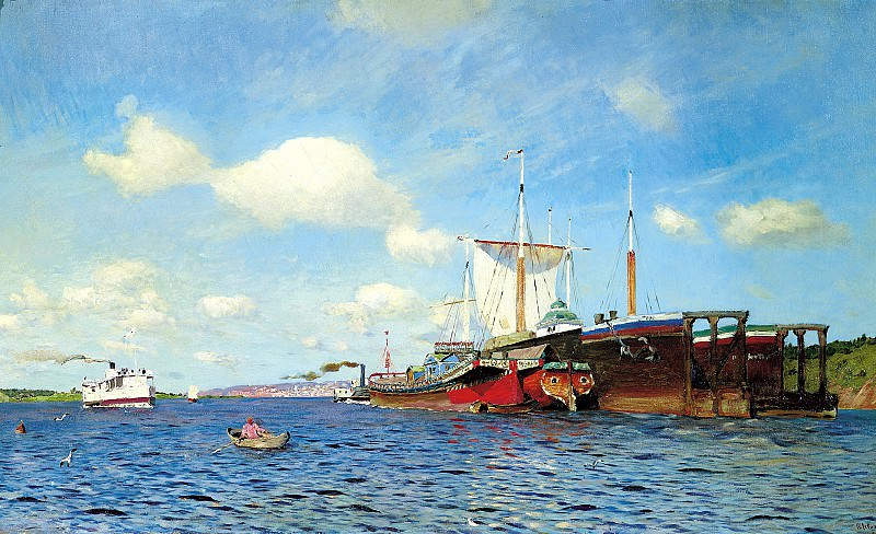 Isaak Levitan - Fresh wind. Volga. 900 Classic russian paintings