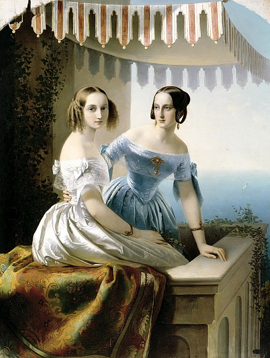 Neff Tim - Portrait of Grand Duchesses Maria Nikolaevna and Olga Nikolaevna. 900 Classic russian paintings