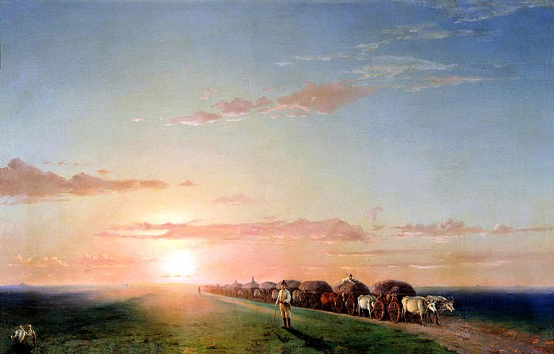 Ivan Aivazovsky - The train in the steppe. 900 Classic russian paintings
