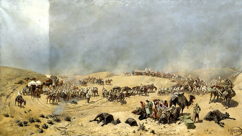 Karazin Nick - Khiva expedition of 1873. Go Turkestan detachment through the dead sands to the wells Adam Krylgan. 900 Classic russian paintings