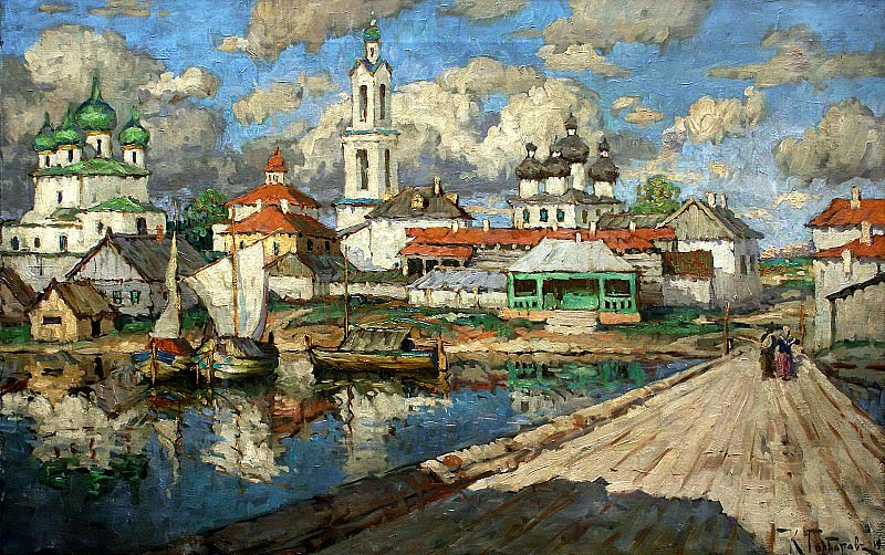 Gorbatov Constantine - View of the old town. 900 Classic russian paintings