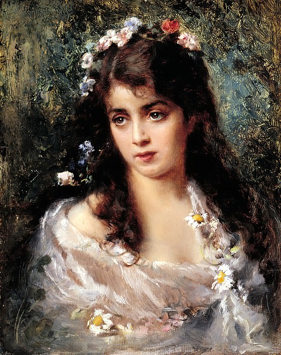 MAKOVSKY Constantine - A girl in a suit of Flora. 900 Classic russian paintings