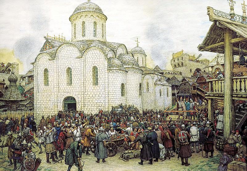 Vasnetsov Apollinary - defense of the city. 900 Classic russian paintings