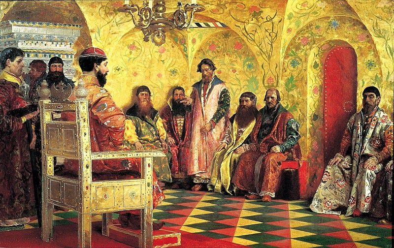 Ryabushkin Andrew - Seat Tsar Mikhail Fedorovich to the boyars in his sovereigns room. 900 Classic russian paintings