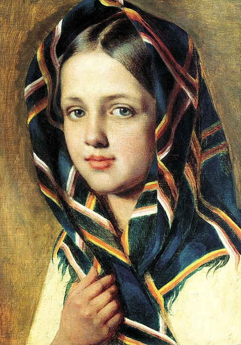 Venetsianov Alex - The girl in a headscarf. 900 Classic russian paintings