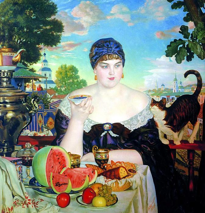Kustodiyev Boris - Merchant at tea. 900 Classic russian paintings