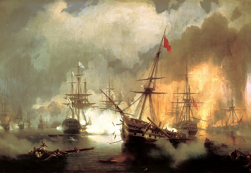 Ivan Aivazovsky - Sea battle at Navarino on October 2, 1827. 900 Classic russian paintings