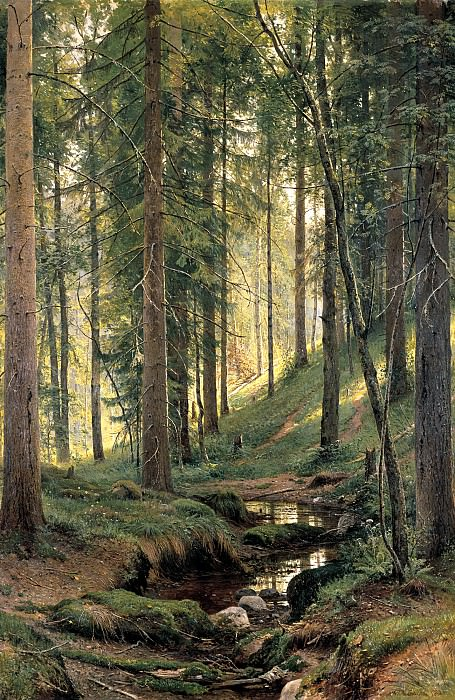 Shishkin Ivan - Forest Stream. 900 Classic russian paintings