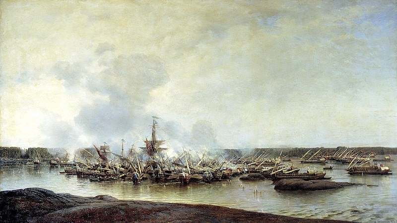Bogolyubov Alexey - Battle of Gangut July 27, 1714. 900 Classic russian paintings