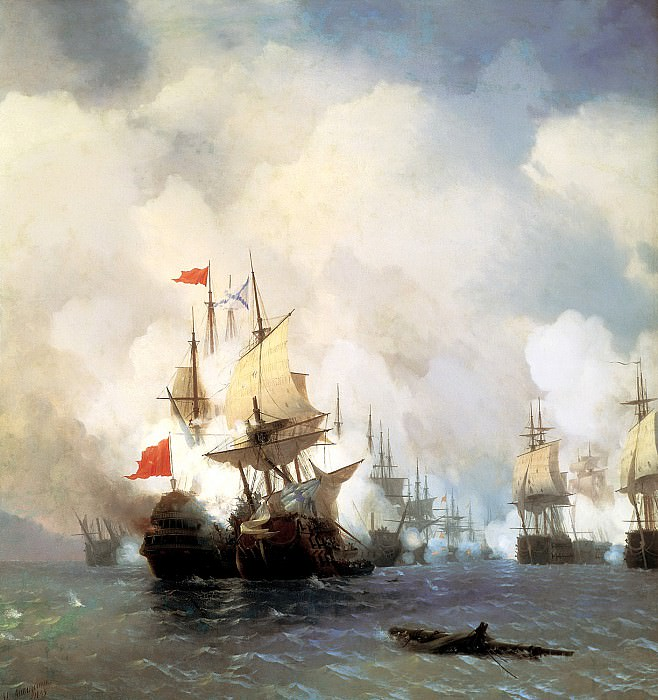 Ivan Aivazovsky - Battle in the Chios Channel June 24, 1770. 900 Classic russian paintings