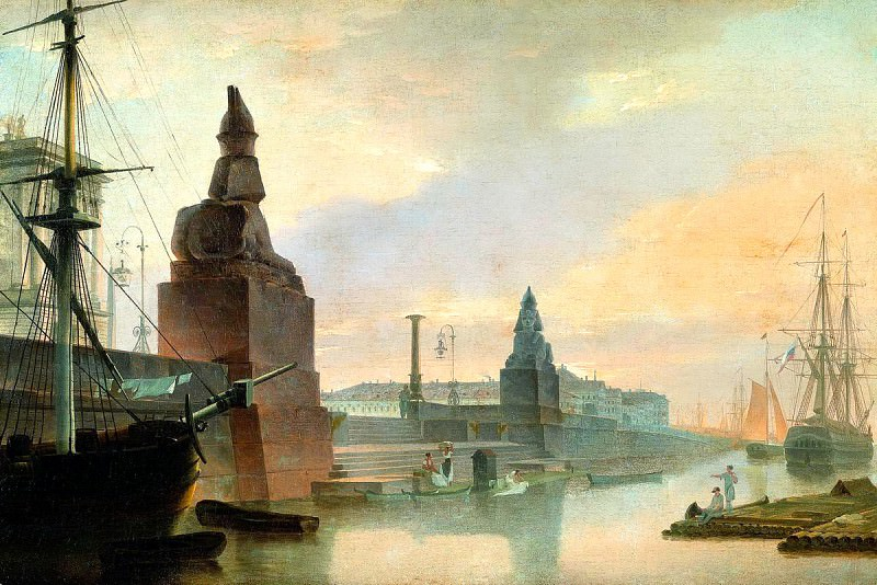 VOROBYEV Maxim - Neva Embankment near the Academy of Fine Arts. 900 Classic russian paintings