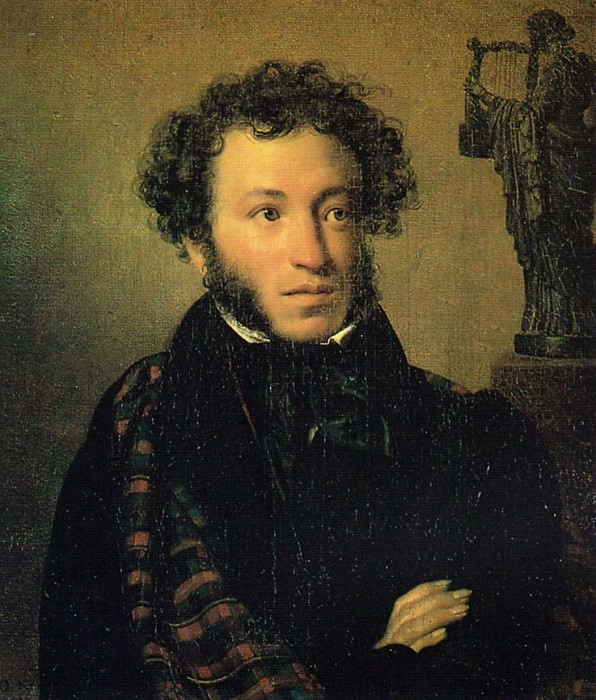 Kiprensky Orestes - Portrait of Alexander Pushkin (1827) GTG. 900 Classic russian paintings