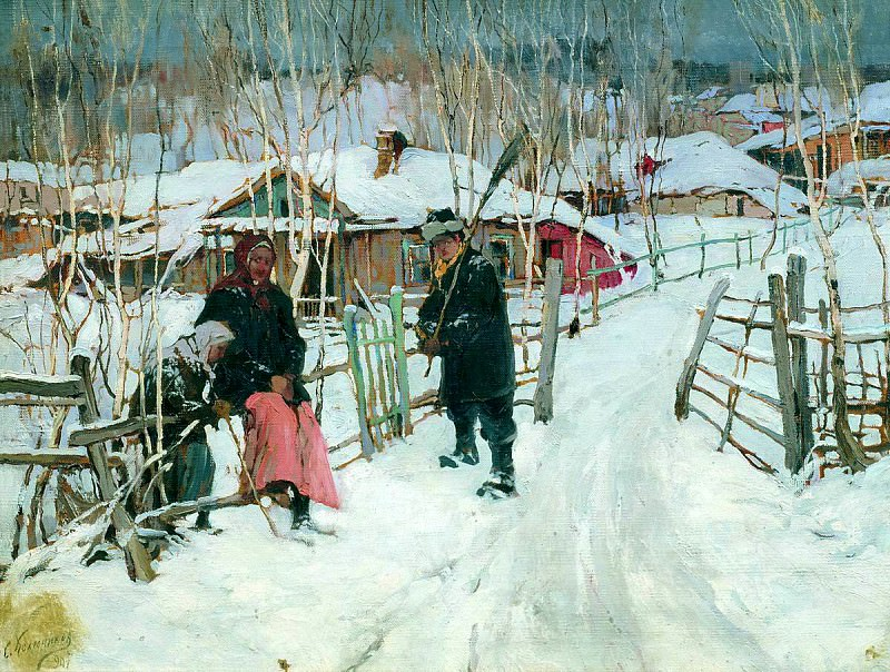 Stepan Kolesnikov - Winter. Outskirts of a village. 900 Classic russian paintings